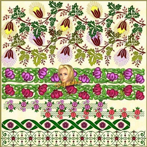 Цветочные бордюры для фотошоп