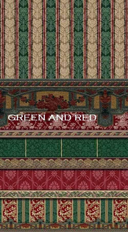 Коллекция восточных фонов и бордюров в зеленых и красных тонах
