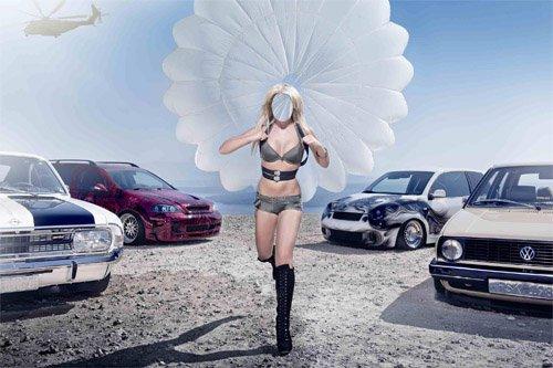 Женский шаблон - Девушка и прыжок с парашютом