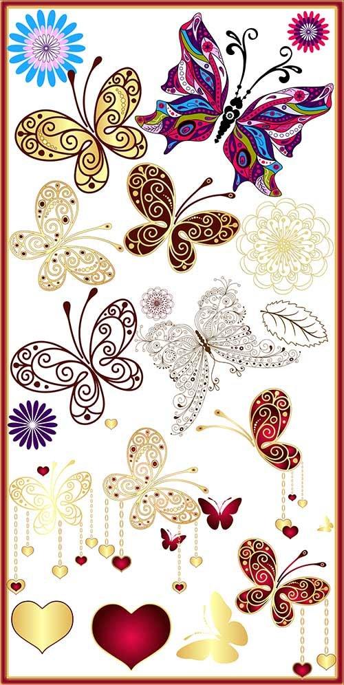 Клипарт PSD - красивые расписные бабочки на прозрачном фоне