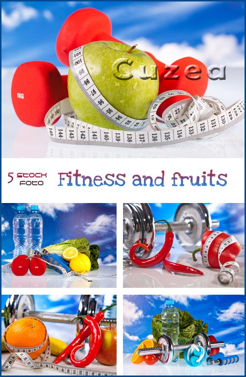 Фитнес и фрукты/ Fitness and hot fruits  - Stock photo