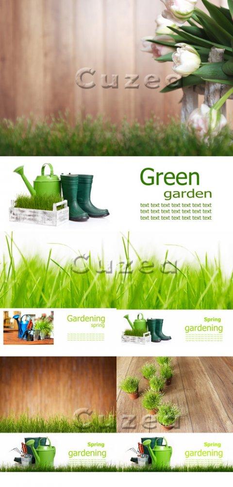 Фоны весеннего садоводства с местом для текста/ Spring gardening -  Stock p ...