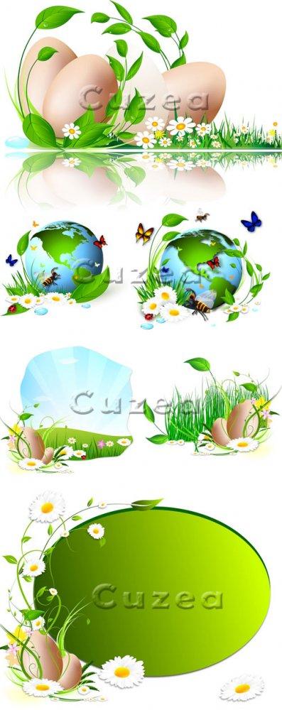 Пасхальные яйца с зелеными листьями в векторе/ Easter eggs with green  leav ...