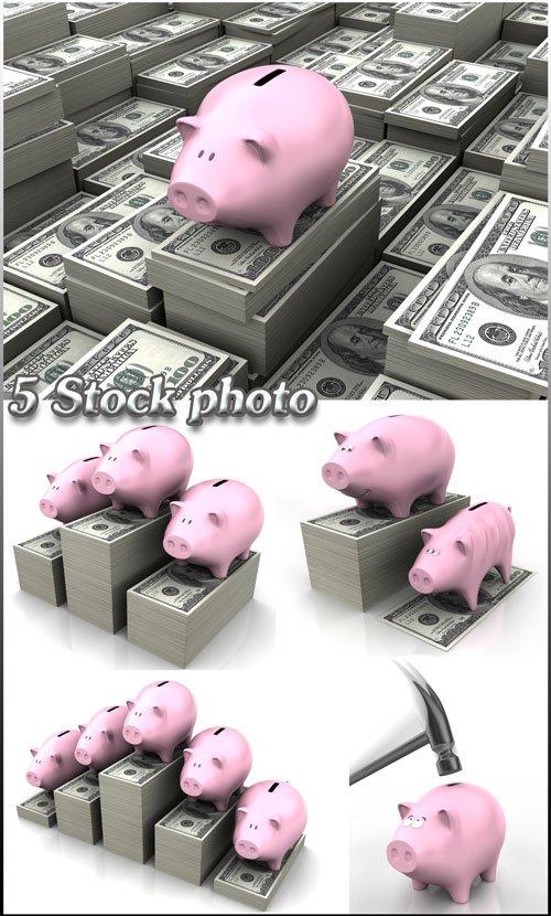 Деньги, доллары, копилка - растровый клипарт