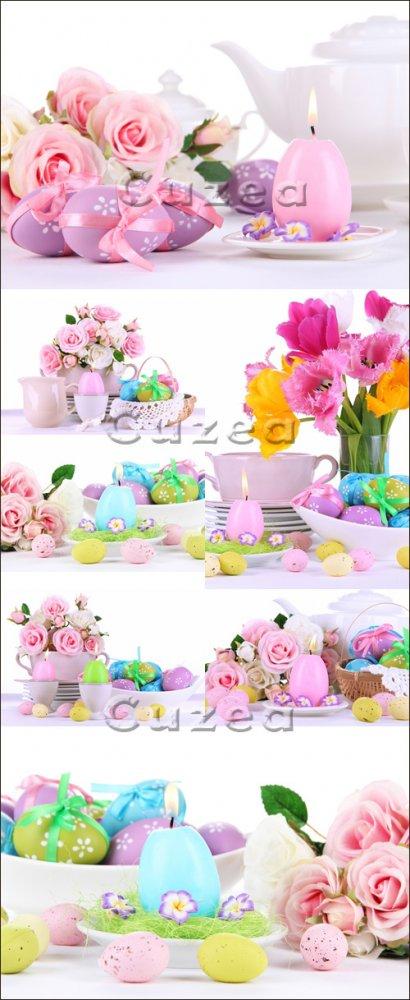 Розы и свечи к праздникам/ Easter candles with roses - Stock photo