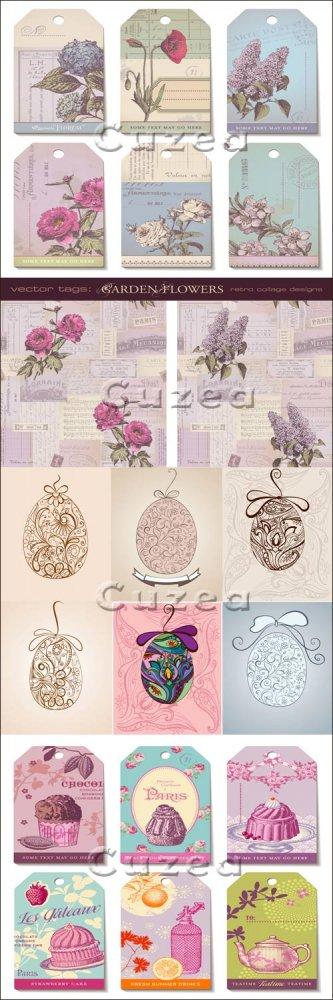 Винтажные весенние фоны с цветами и к пасхе/  Vintage spring and easter bac ...