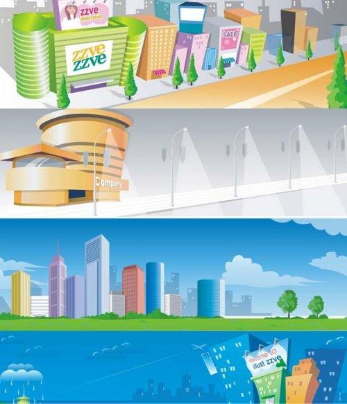 Векторный сток: города и улицы