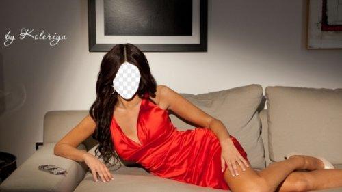Женский шаблон для фото-Девушка в красном платье