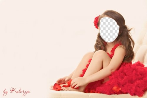 Детский шаблон для фото-Девочка в красном платье