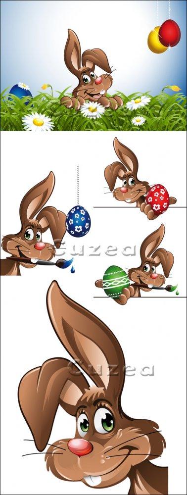 Пасхальный кролик в векторе/ Easter rabbit with eggs in vector