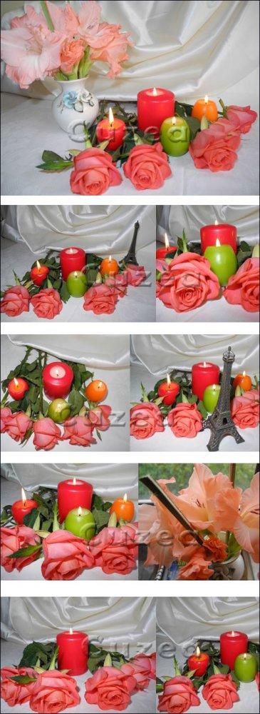 Розы и свечи, часть 2 / Roses and candles, part 2 - Stock photo