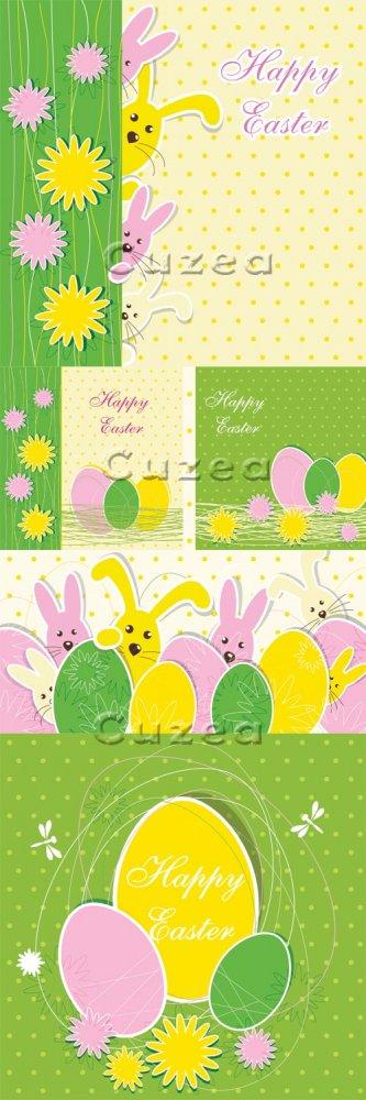 Пасхальные открытки с кроликами в векторе/ Easter posters in vector