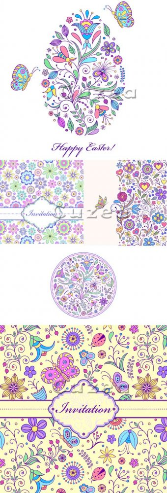 Пасхальные цветочные орнаменты и пригласительные в векторе/ Easter floral o ...