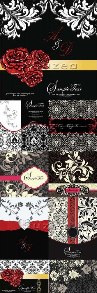 Винтажные векторные цветочные фоны белое-черное-красное/ Vintage floral bla ...