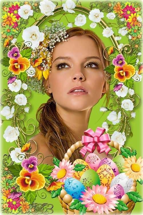 Яркая цветочная рамочка - Весенняя фантазия