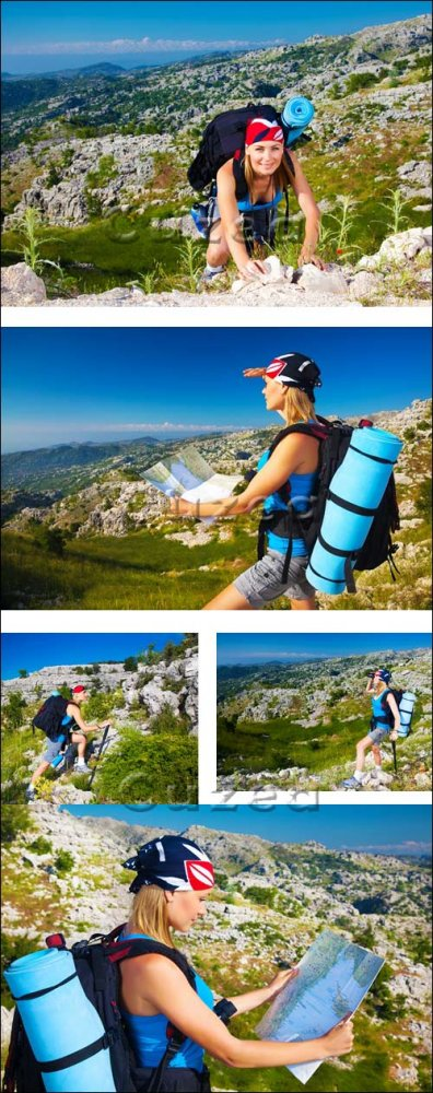 Девушка на горных склонах/ Female in mountains - Stock photo