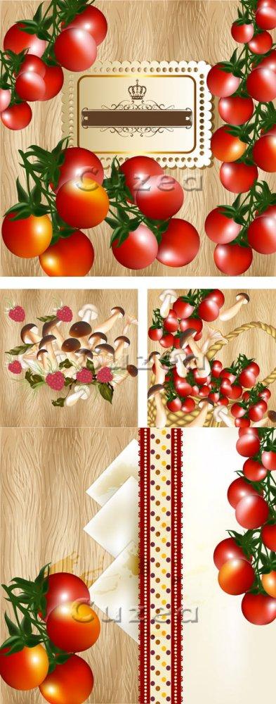 Фоны для меню с грибами и томатами/ Background for menu with tomatos and mu ...