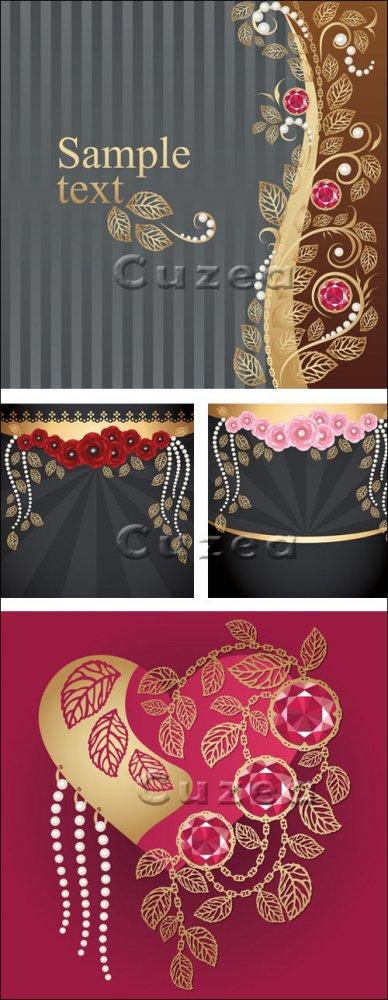 Фоны с драгоценными камнями в векторе/ Backgrounds with flowers and jewels  ...