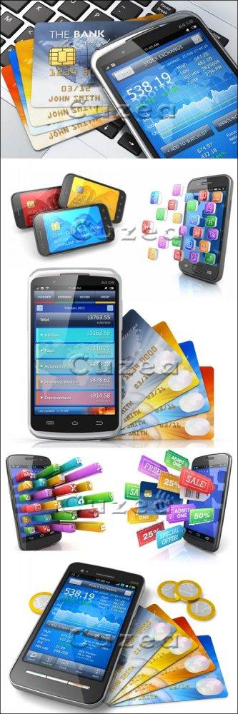 Смартфоны, кредитные карты и социальные иконки/ Smartphones, credit cards a ...