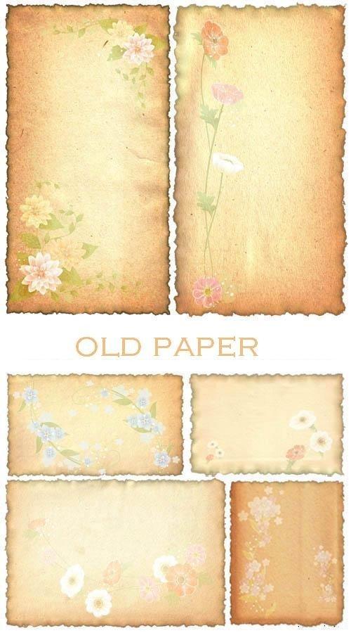 Цветы на старой бумаге (набор фонов)
