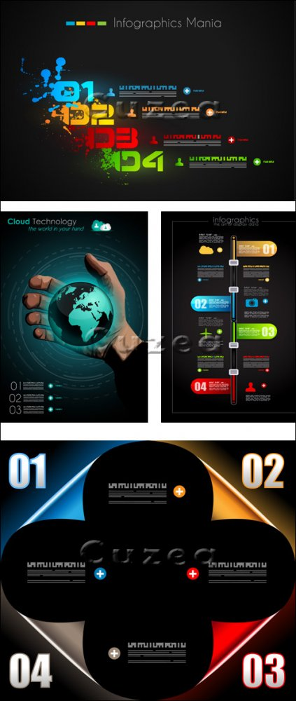 Элементы инфографики, часть 38/ Infographics design template with numeration, part 38 - vector stock