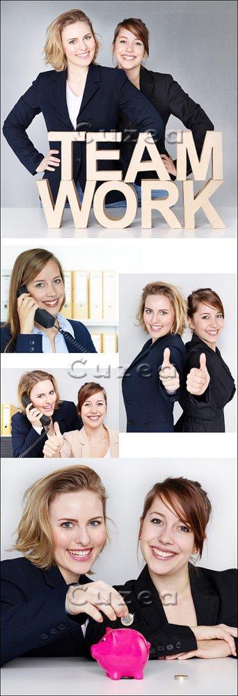 Бизнес леди и командная работа/ Businesswoman and team work - Stock photo