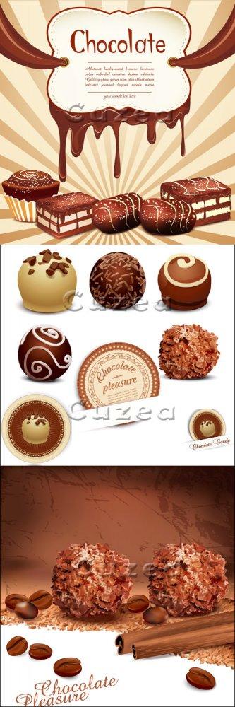 Фоны с шоколадными конфетами в векторе/ Sweet chocolate in vector