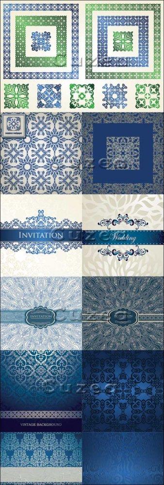 Винтажные голубые и зеленые орнаменты на векторных фонах/ Vintage blue and  ...