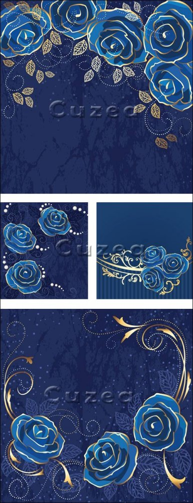 Синие фоны с розами в векторе/ Roses blue vintage card in vector