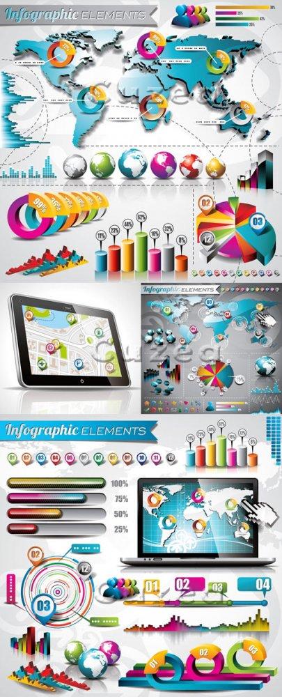 Элементы инфографики, часть 39/ Infographics design template with numeratio ...