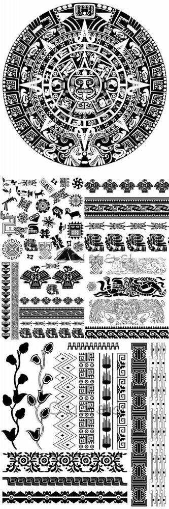 Черные этнические векторные орнаменты/ Black etnick ornaments in vector