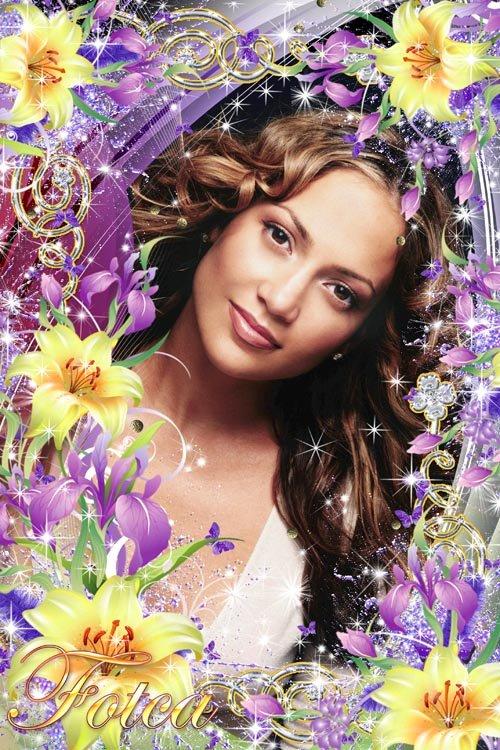 Цветочная рамка - Ирисы и лилии