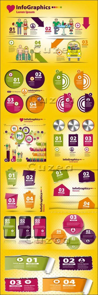 Элементы инфографики, часть 41/ Infographics design template with numeration, part 41 - vector stock