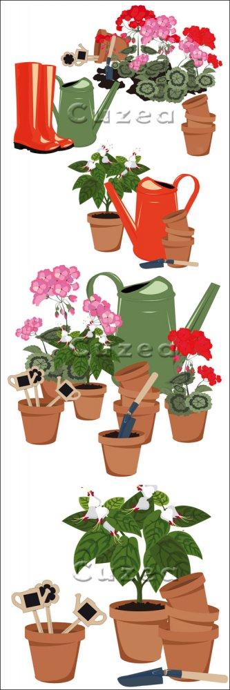 Цветы в горшках, садовые сапоги и лейка в векторе/ Flowers in the garden ru ...