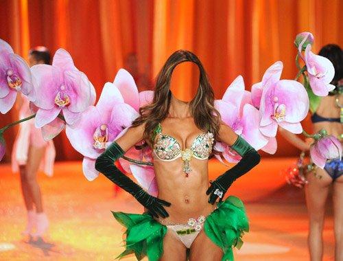 Женский шаблон - Девушка на показе моды в весеннем костюме