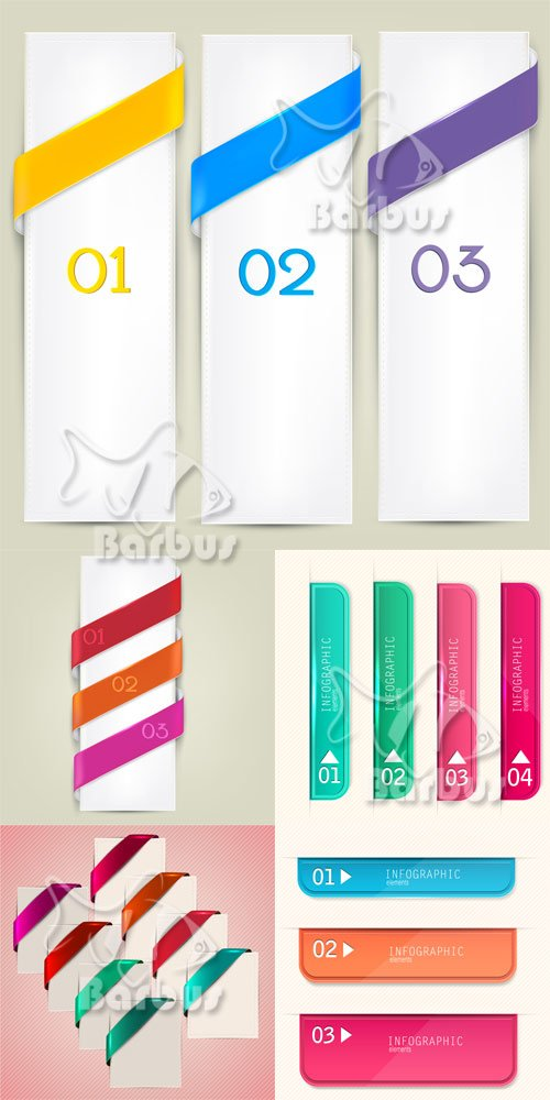 Set of bookmarks, stickers, labels,  numbered banners / Набор web закладов, ...