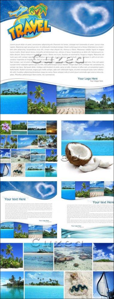 Фоны с местом для текста на тему туризма и летнего отдыха/ Travel backgroun ...