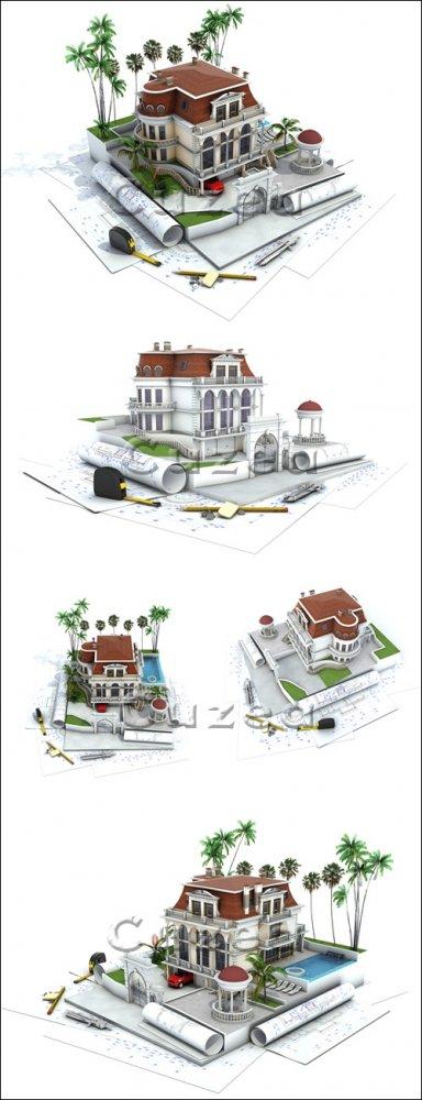 Проектный дизайн дома/ House design progress -  stock photo