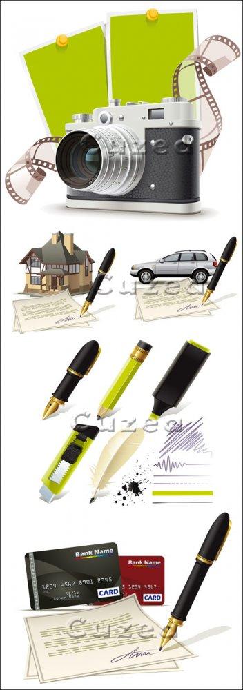 Покупки в кредит и письменные принадлежности в векторе/ Purchases of goods  ...