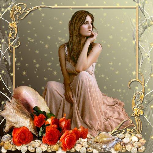 Рамка женская  ''Ракушка с розами ''