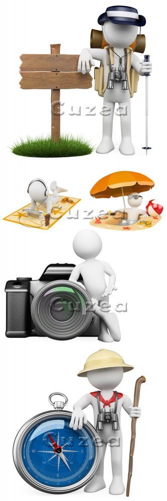 3д люди и туризм/ Travel 3d people - Stock photo