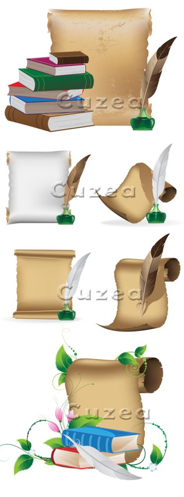 Свитки, перо, чернильница и книги в векторе/ Scroll and book - vector stock