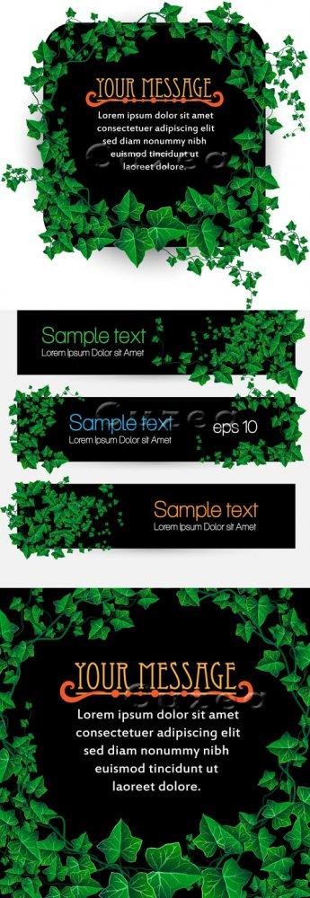 Баннеры и фоны с зелеными листьями в векторе/ Green leaves banners in vecto ...