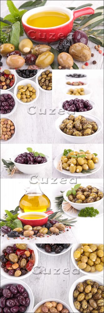 Масло и оливки/ Assortiment of olives and oil - Stock photo