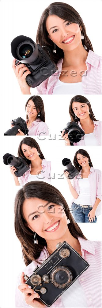 Девушка с фотокамерой/ Girl with photo camera - Stock photo