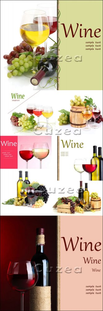 Фоны с бокалами вина и виноградом/ Wine backgrounds for menu - Stock photo