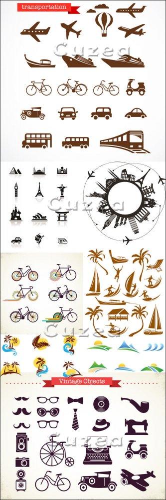 Иконки и элементы на тему отдыха и путешествий в векторе/ Holiday, voiaj an ...