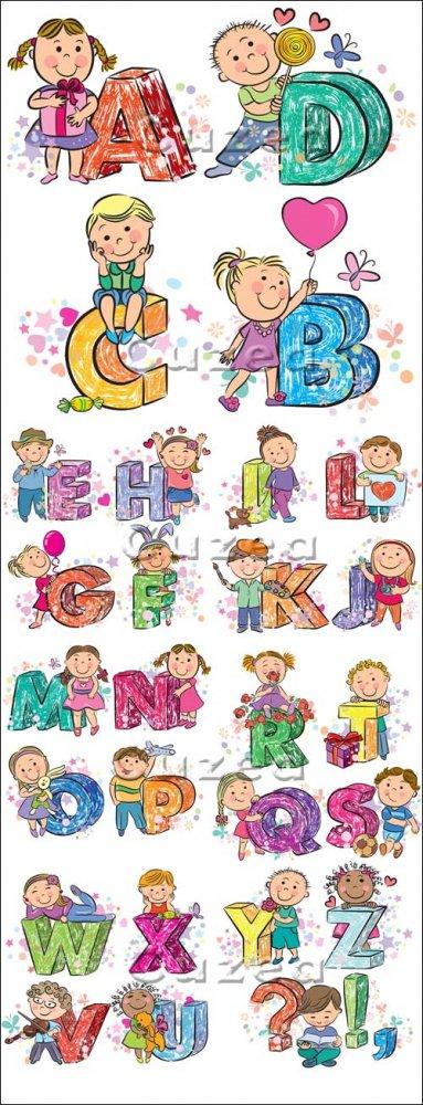 Дети и буквы алфавита в векторе/ Children with alfabet in vector