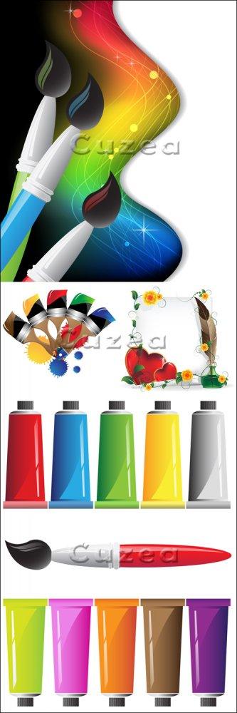 Разноцветные краски и кисти в векторе/ Color vector paints and brushes