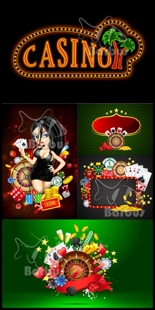 Bright casino - cards, counters, coins / Яркое казино - карты, фишки и моне ...